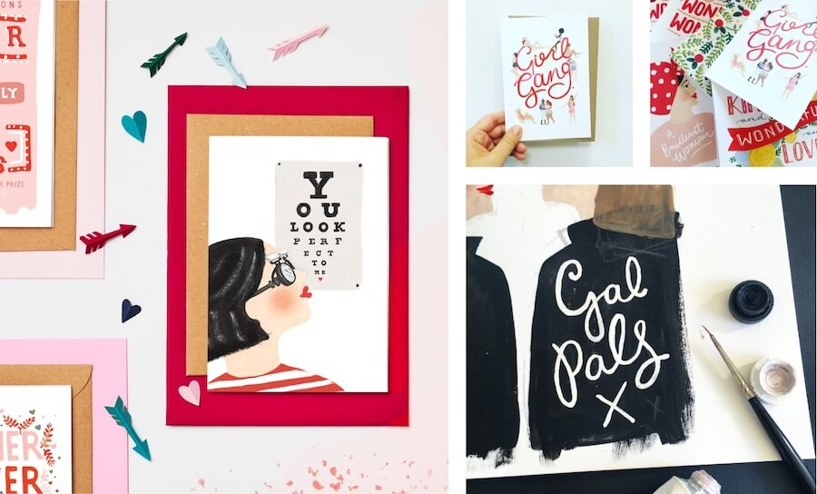 Collage of Valentines-themed Jade Fisher products